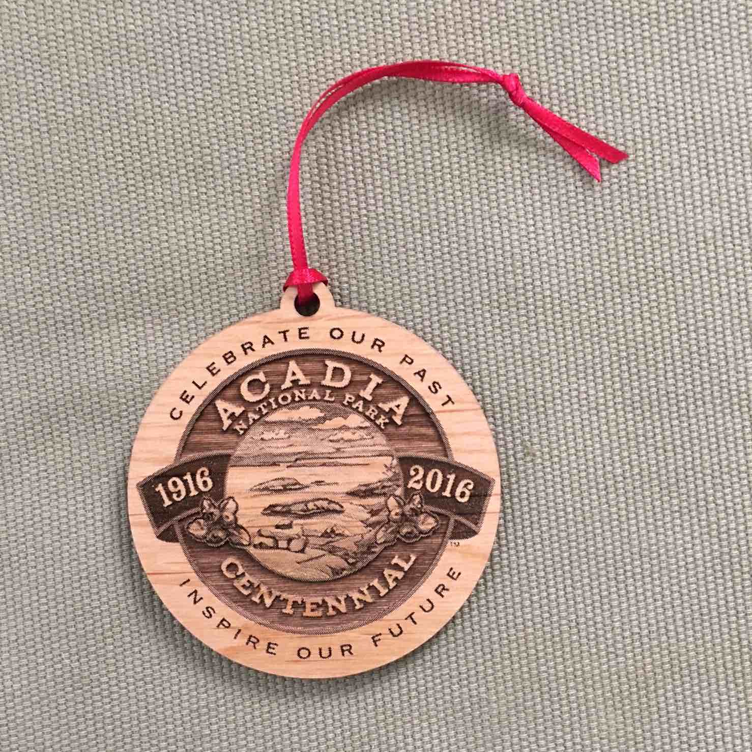 Acadia National Park Ornament w/Red Ribbon