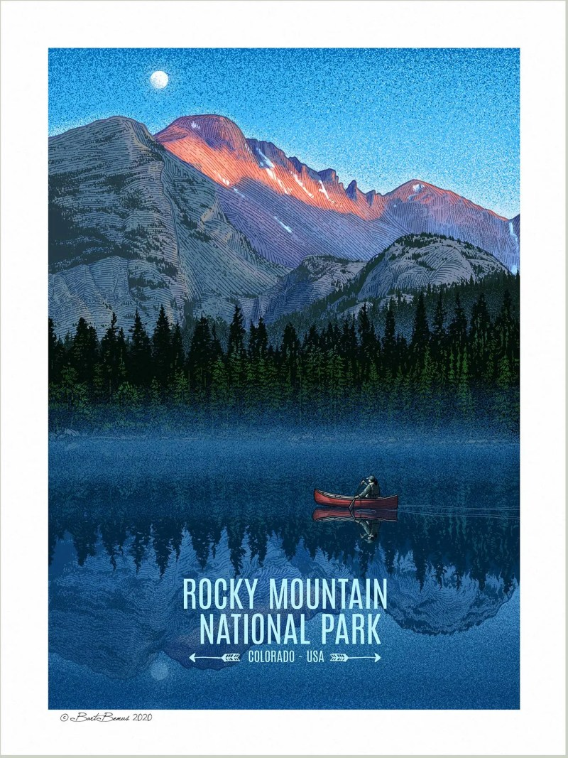 A vintage style WPA poster of Rocky Mountain National Park.