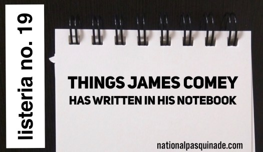 Listeria No. 19: Comey's Notebook