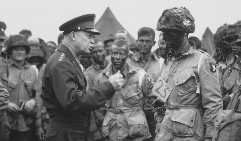 General Eisenhower Talks With 101st Airborne Troopers Taking Part In The D Day Invasion June 5 1944