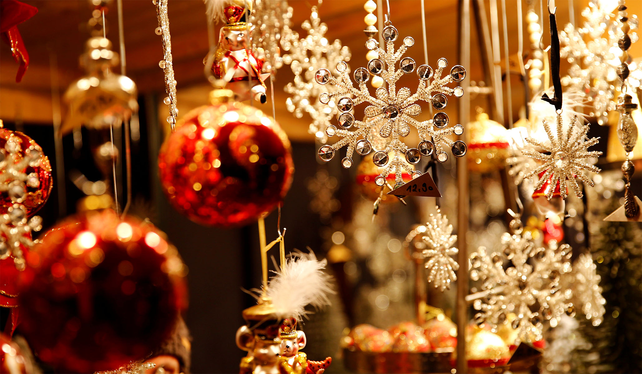 Christmas Decorations On Display At A Christmas Market In Front Of The  Schoenbrunn Palace In Vienna