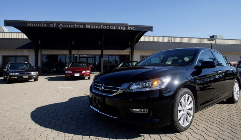 Accords Built At The Marysville Auto Plant Since 1983 Are Seen On Display During A Tour Of Honda Automobile In Ohio October 11 2012