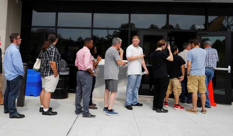 Job Seekers Line Up At An Amazon Jobs Day Fair In Fall River Mass August 2 2017 Brian Snyder Reuters