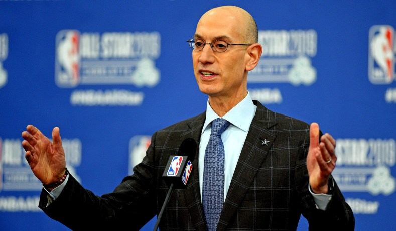 bf1e4a49e1b3 NBA commissioner Adam Silver speaks during a press conference at Spectrum  Center