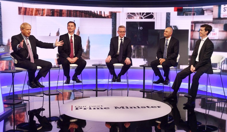 3c6df62408c From left: Boris Johnson, Jeremy Hunt, Michael Gove, Sajid Javid, and Rory  Stewart appear on BBC TV's debate in London, England, June 18, 2019.