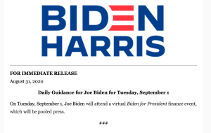 Biden has only one event listed today, a fundraiser.