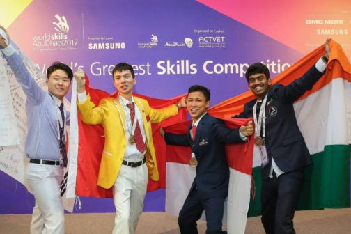 Kiran Sudhakar after winning Bronze Medal in Prototype Modelling