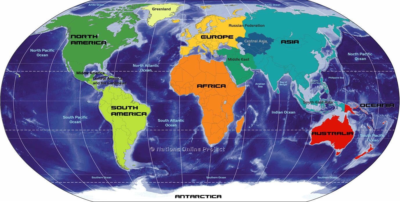 Big Map of Continents of the World   Nations Online Project Map of the Continents of the World  Africa  Antarctica  Asia  Australia