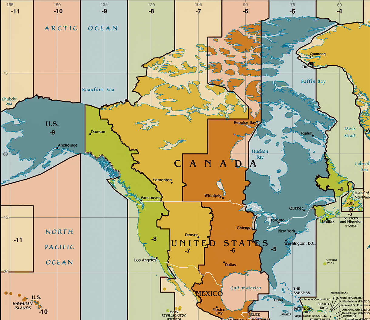Time zone map of usa with clocks: Time Zone Map Of The United States Nations Online Project