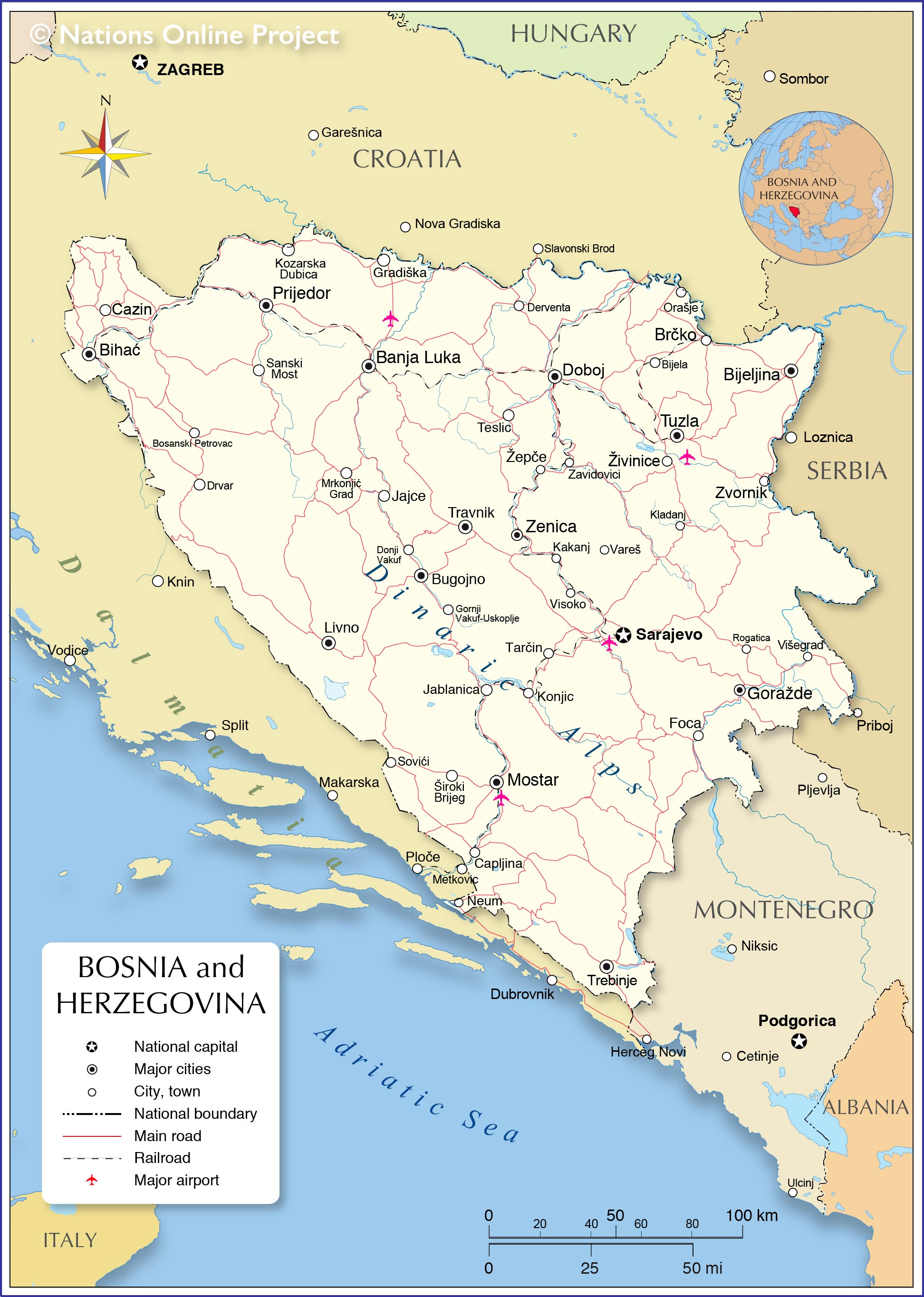 Political Map Of Bosnia And Herzegovina Nations Online Project