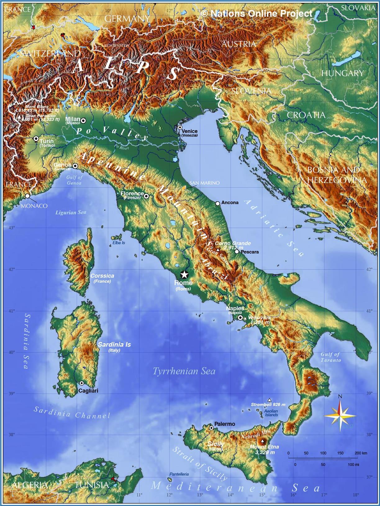 Europe Physical Map Italian Peninsula