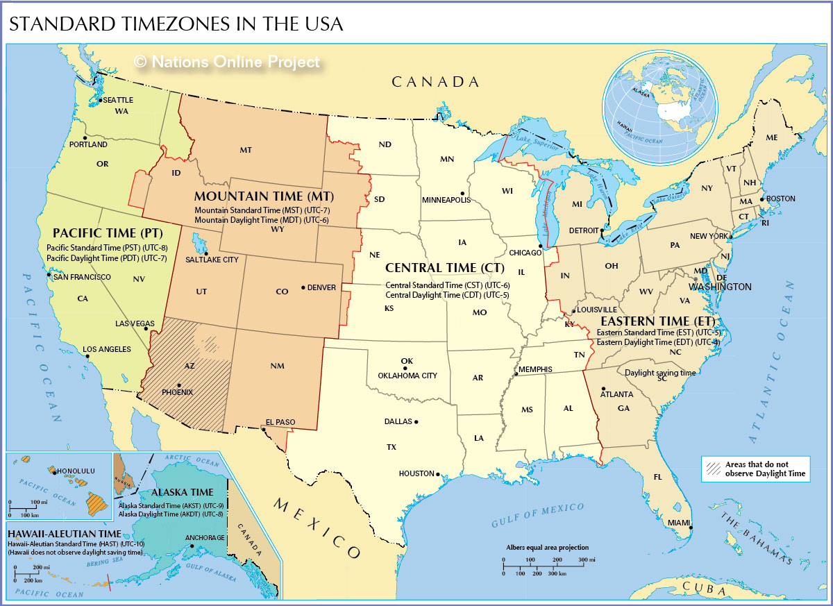 Time Zone Map Of The United States