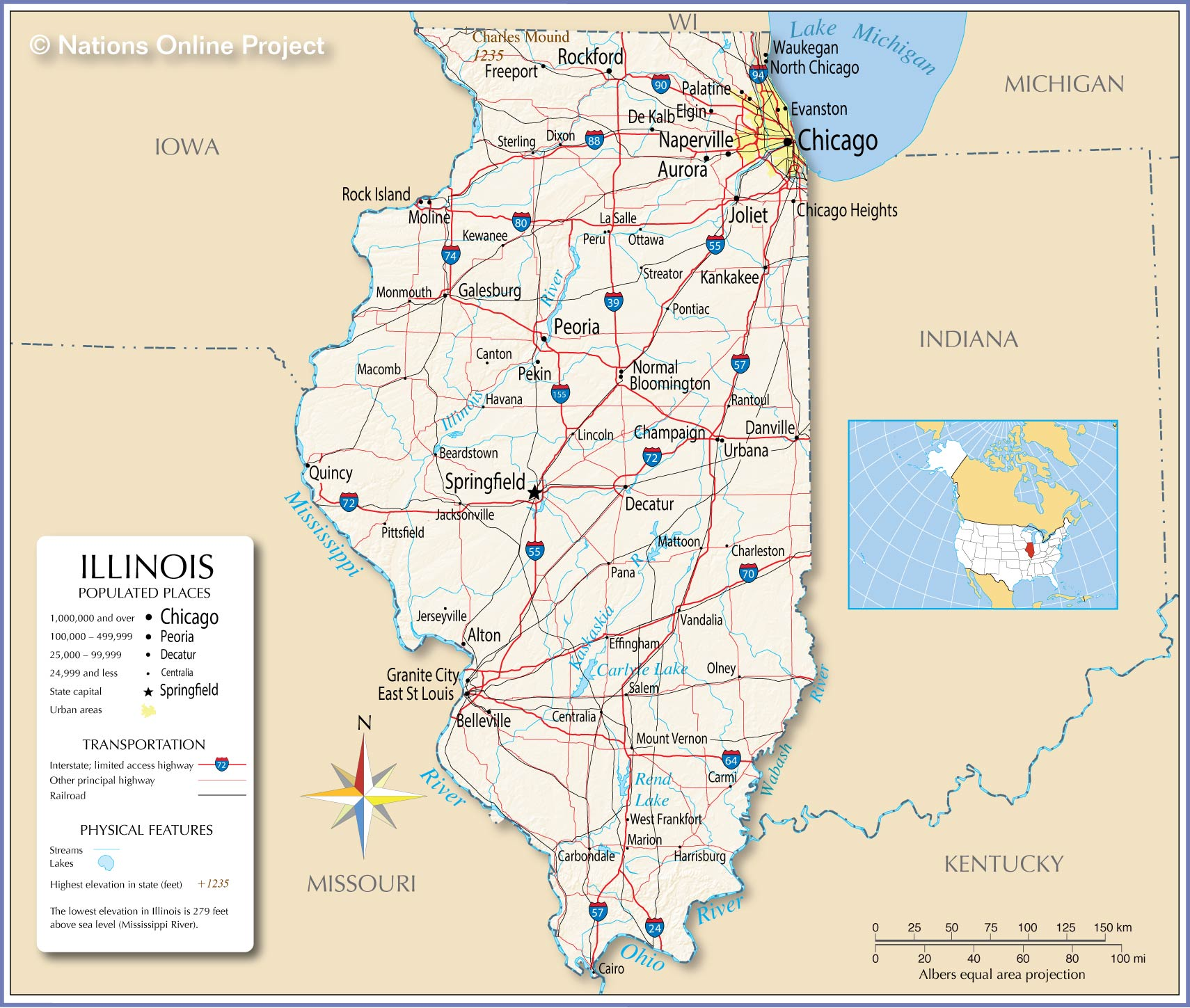 Map Of The State Of Illinois Usa