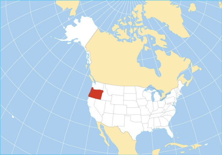 Location map of Oregon state USA