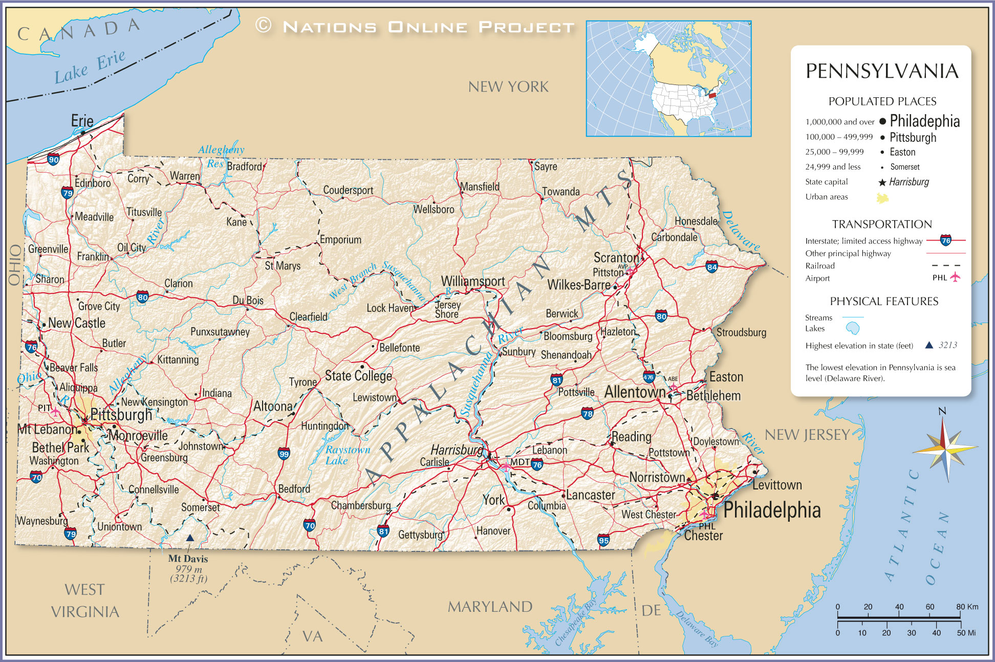 Norristown, oil city, phoenixville, philadelphia, pittsburgh, plum,. Map Of The State Of Pennsylvania Usa Nations Online Project