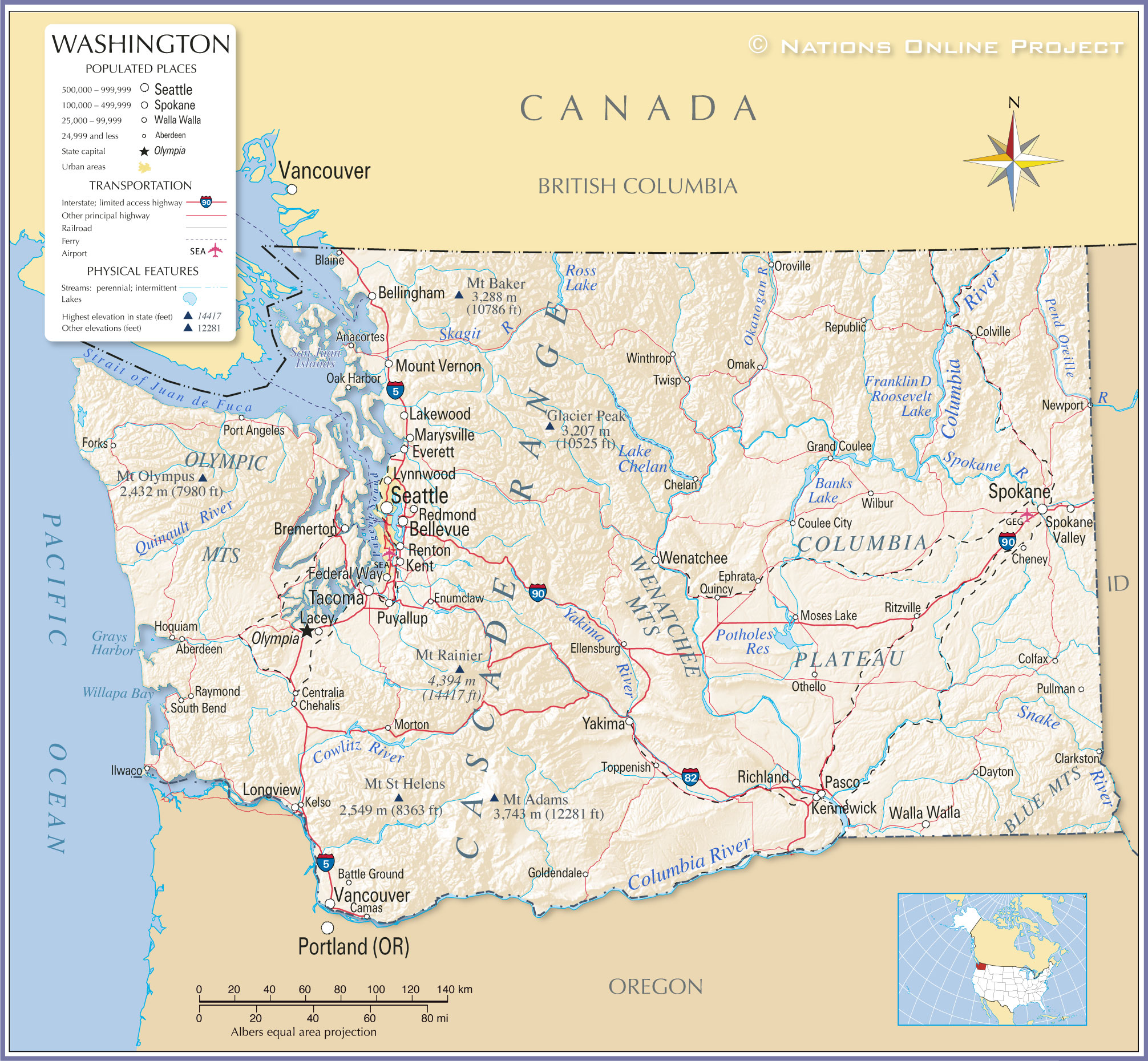 Reference Maps Of State Of Washington Usa