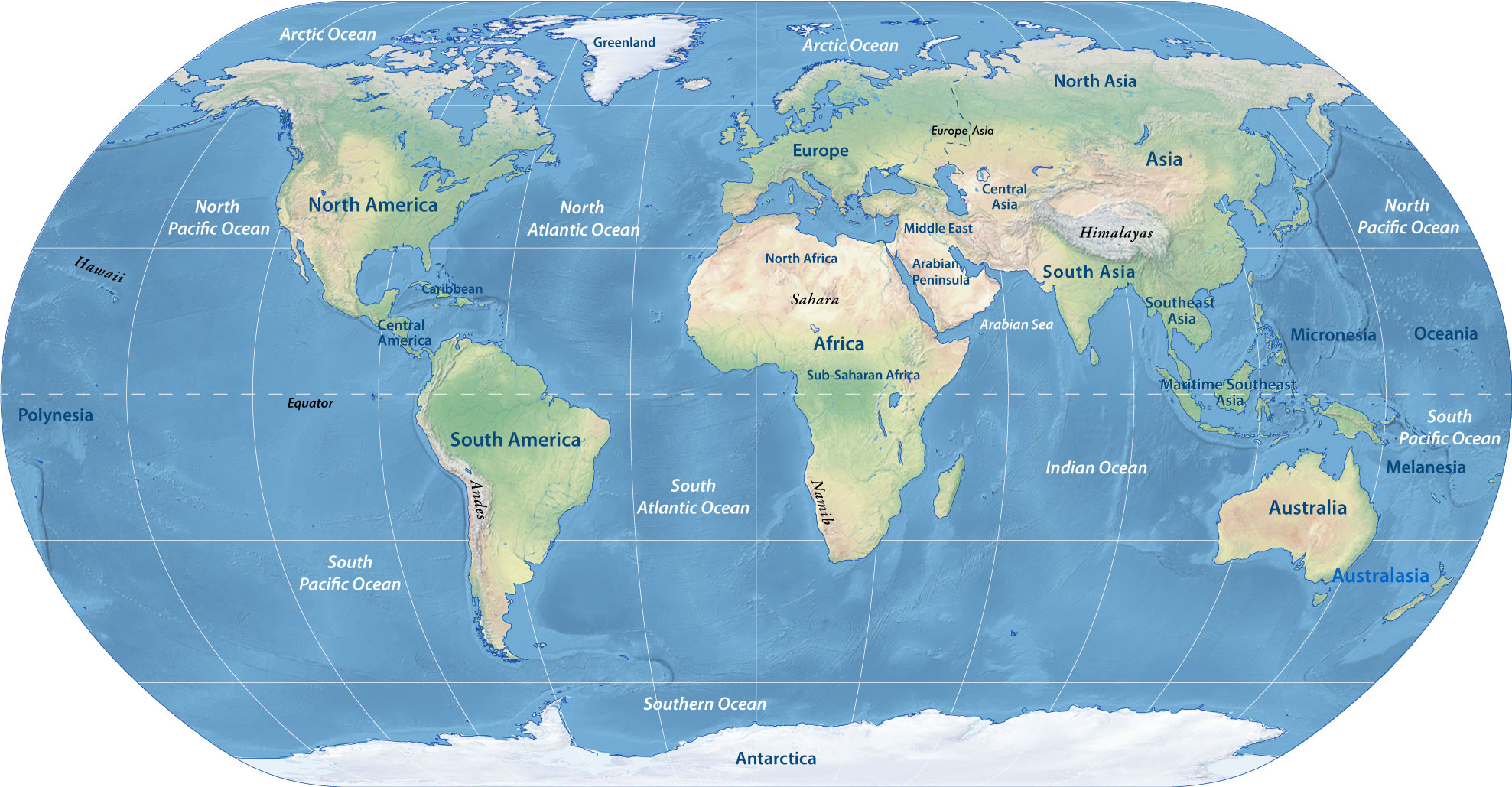 Physical Map Of The World Continents Nations Online Project