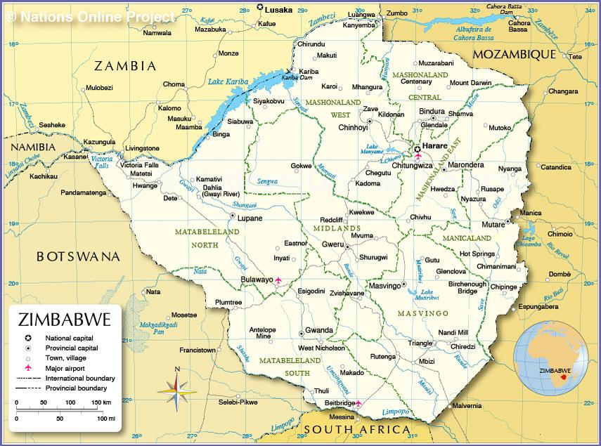 Map Zimbabwe Masvingo