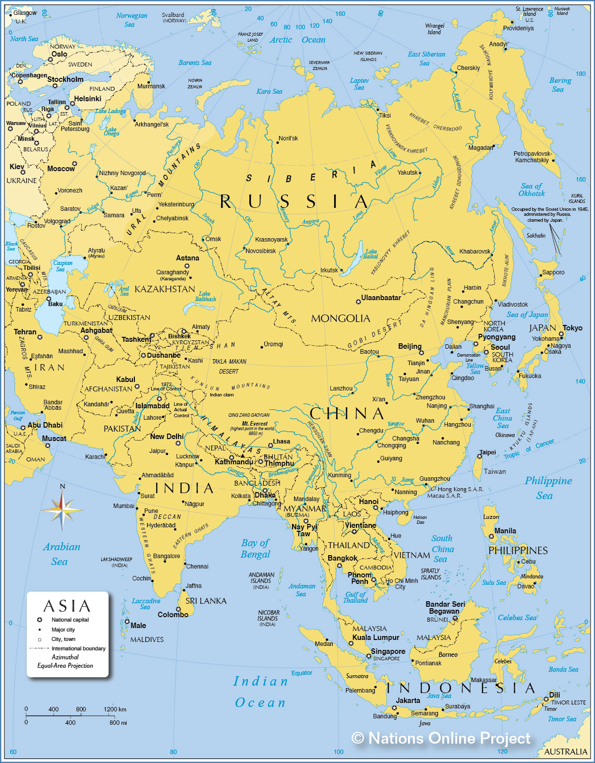 Map Of Asia Political With Capitals Afp Cv