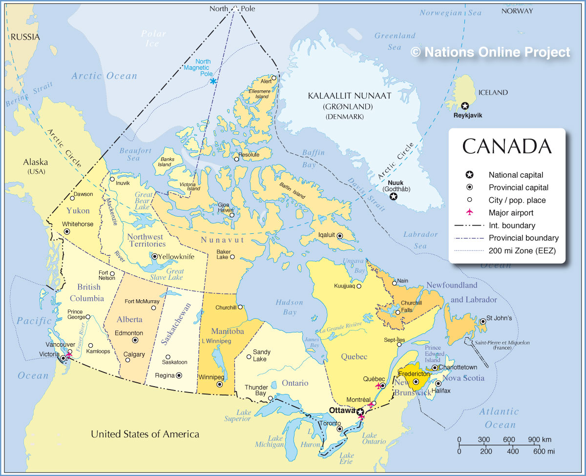Administrative Map Of Canada Nations Online Project