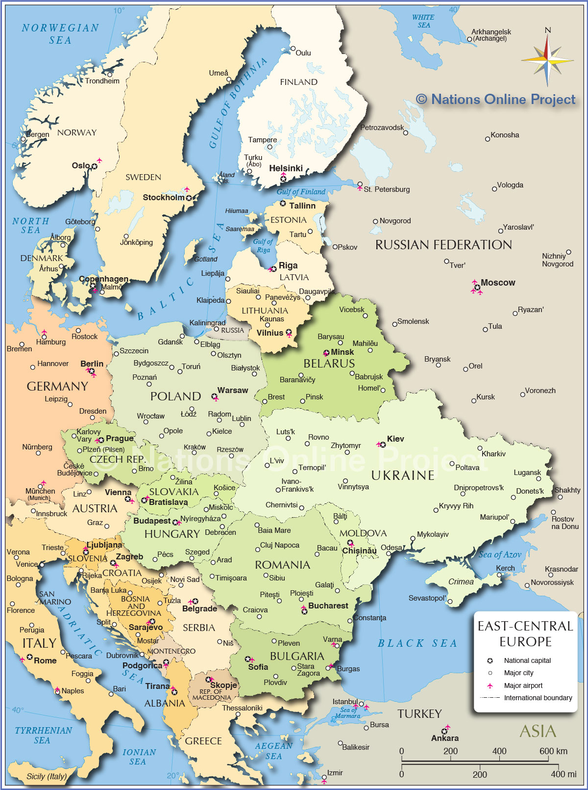 Political Map Of Central And Eastern Europe