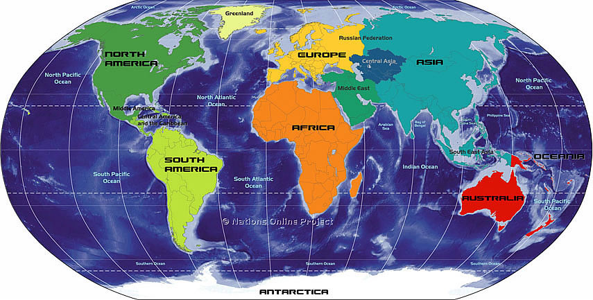 Map of the Continents of the World, Africa, Antarctica, Asia, Australia, Europe, North America, and South America