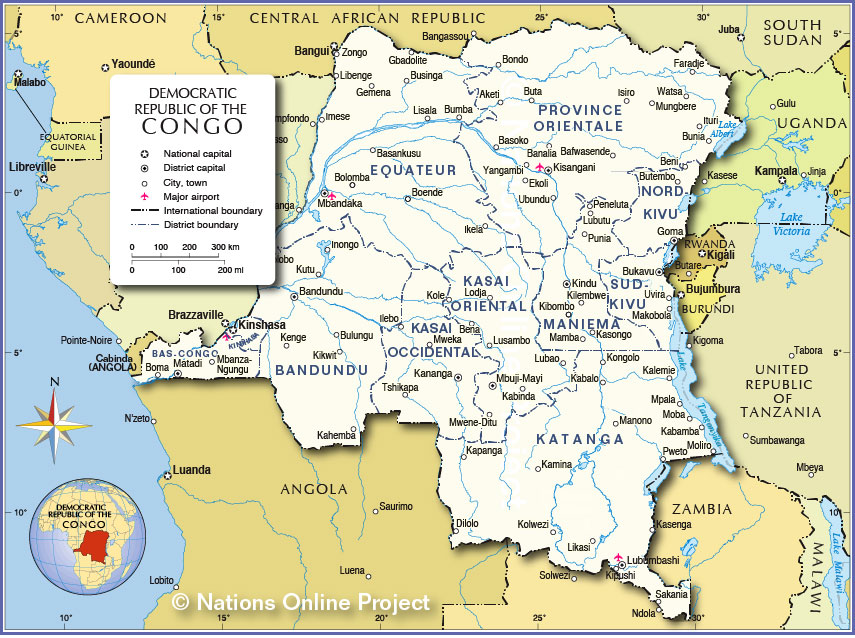 Political Map of Democratic Republic of the Congo
