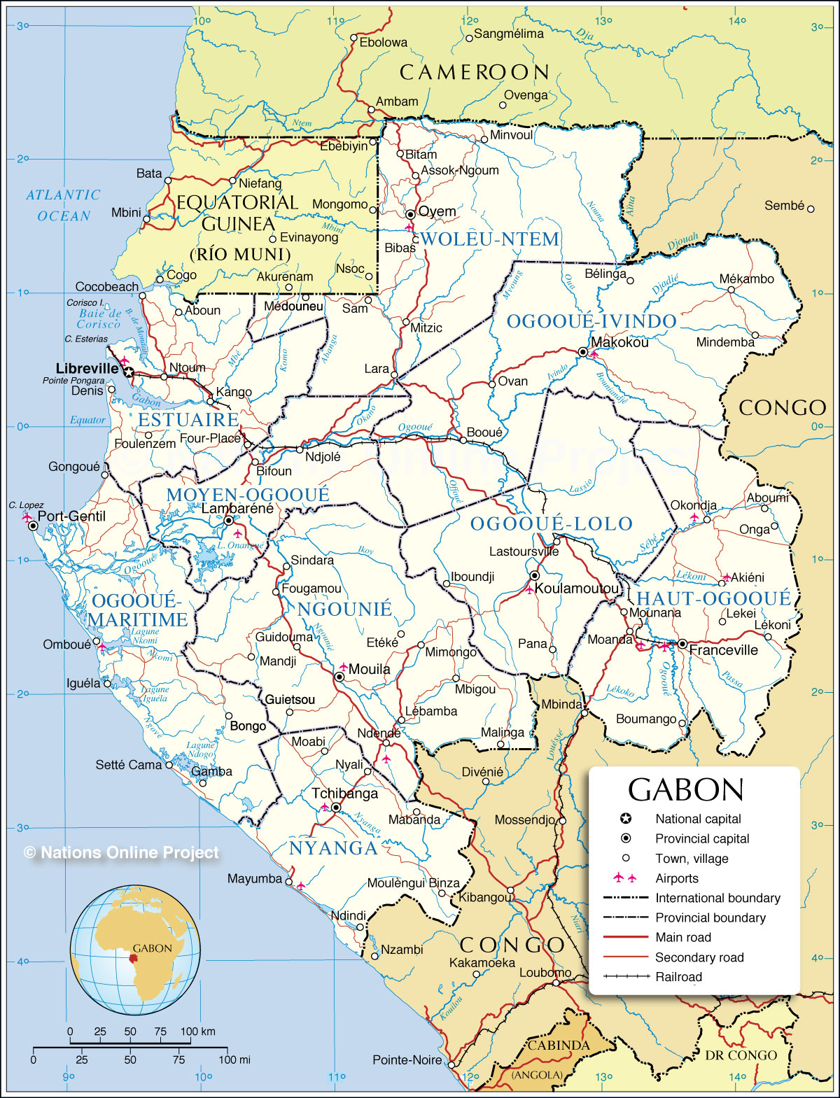 Administrative Map of Gabon