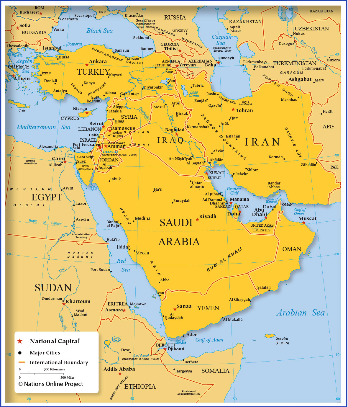 Map Of Western Asia And The Middle East