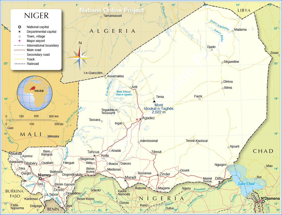 Mali And Mopt Map City Niger River