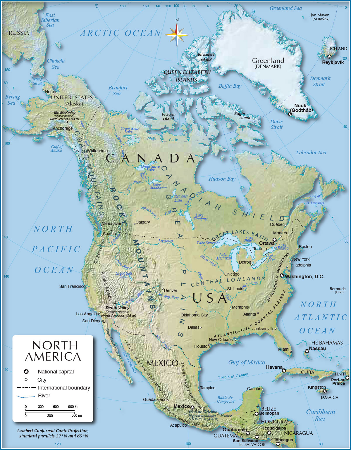 Shaded Relief Map Of North America Px