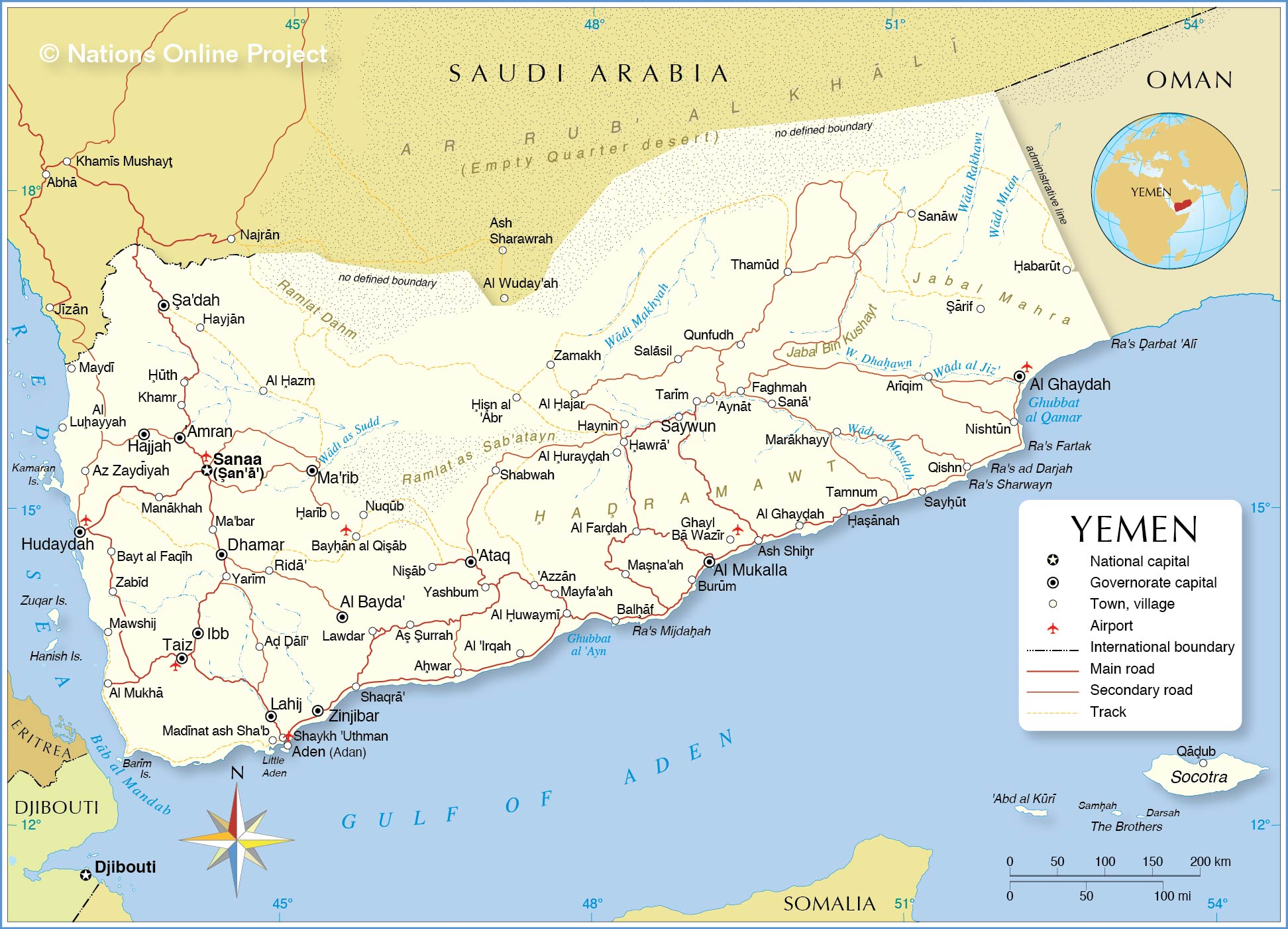 Political Map of Yemen