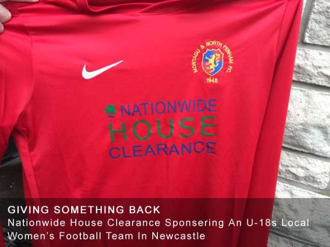 Nationwide House Clearance Sponsoring Montagu & North Fenham Women's Under 18 Team Newcastle 2017-2018