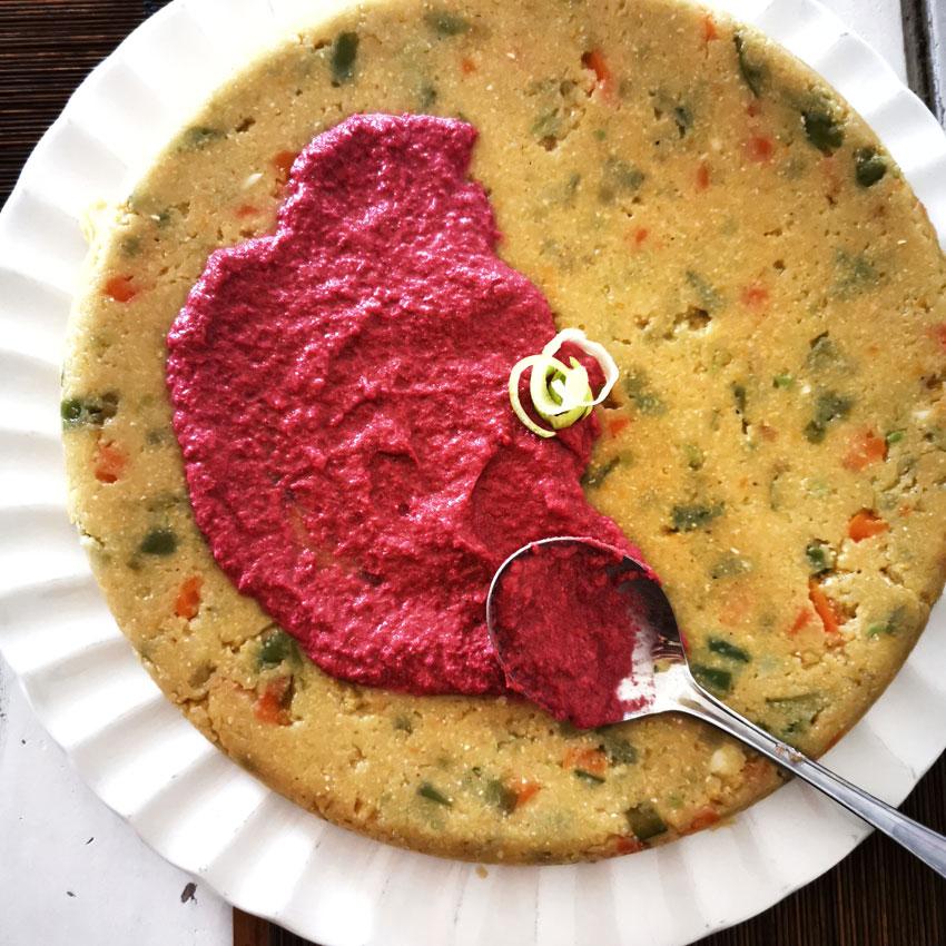pastel de sémola con remolacha