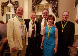 Photo (Left to Right): Maury Molin, Edward Palamar, John Boyer, Carol Boyer and Monsignor Ronald Bocian were inducted into Nativity BVM High School's Golden Cross Society at the school's annual Century Benefit, which was held at the Schuylkill Country Club on Saturday, April 23, 2016.