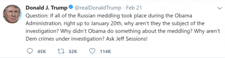 Trump Tweet why didnt Sessions go after Obama