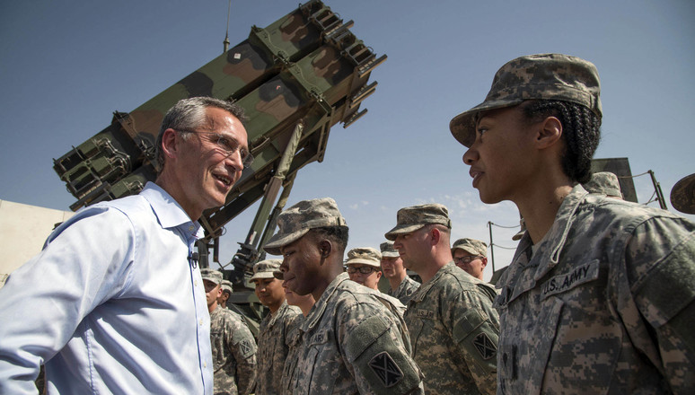 NATO Secretary General Jens Stoltenberg visiting the US Patriot Unit deployed at the Turkish military base in Gaziantep