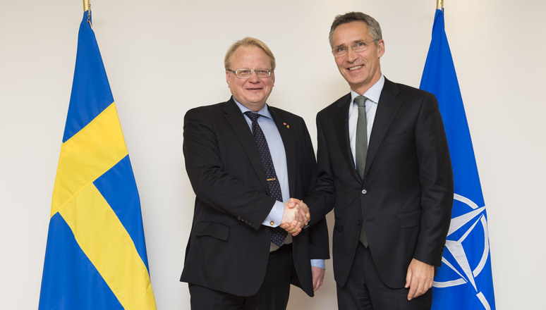 NATO Secretary General Jens Stoltenberg and Swedish Defence minister Peter Hultqvist