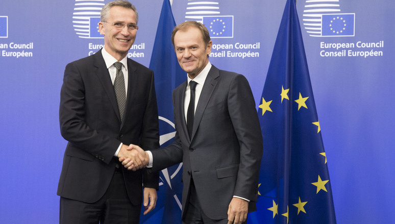 NATO Secretary General Jens Stoltenberg meets with the President of the European Council, Donald Tusk