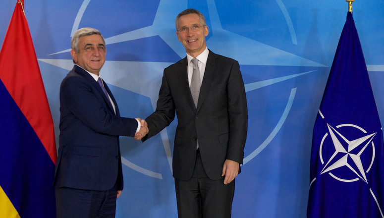 The President of the Republic of Armenia, Serzh Sargsyan visits NATO and meets with NATO Secretary General Jens Stoltenberg
