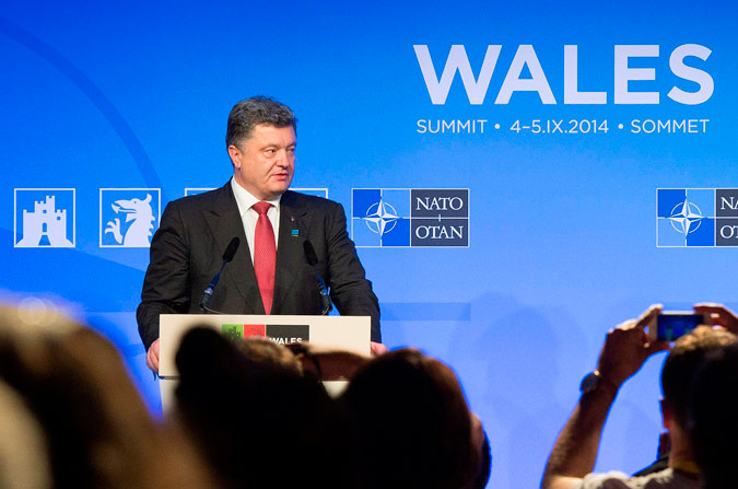 Support for Ukraine: Ukrainian President Petro Poroshenko<br /><br /><br /><br /><br /><br /><br />         at the Wales Summit.