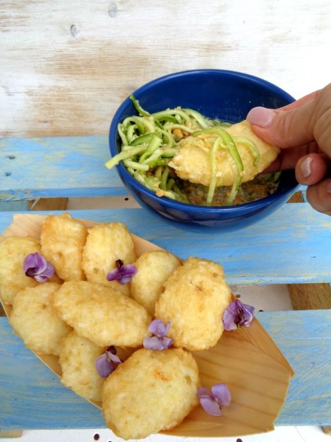 Frittelle di riso e pesce bianco assaggio