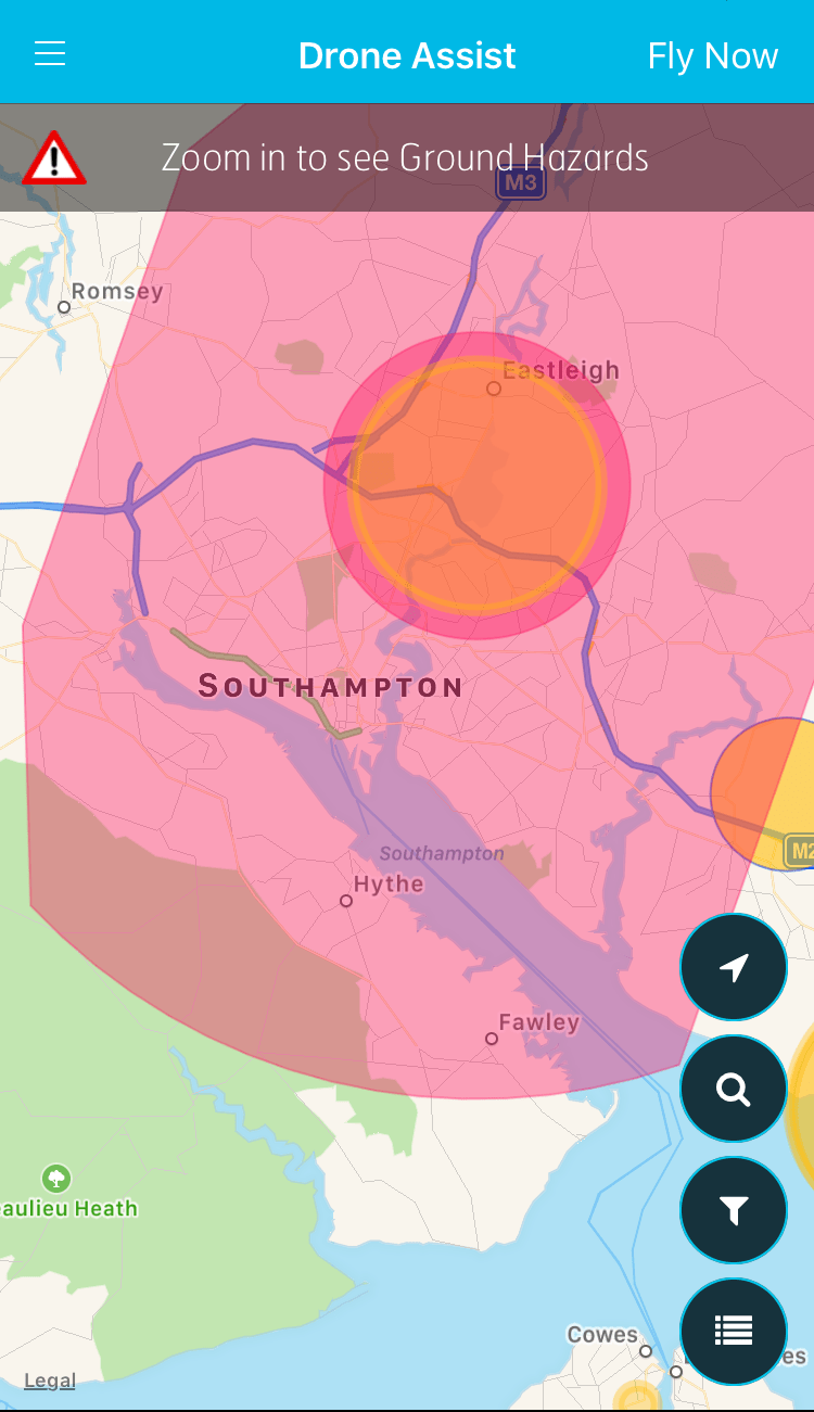 Drone Assist highlights areas of controlled airspace.