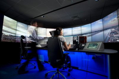 The 14 screen provide controllers with a full 360 degree view of the airfield.