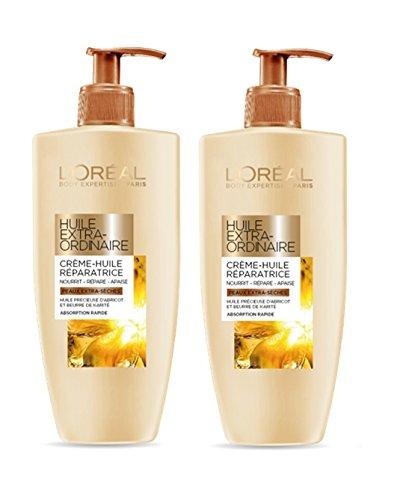 L'Oréal Huile Extraordinaire Lait-Crème Hydratant Réparateur pour Corps 250 ml – Lot de 2