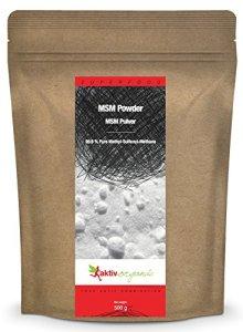 Aktiv Organic MSM en Poudre, 500 g, 99,9% pure, soufre organique