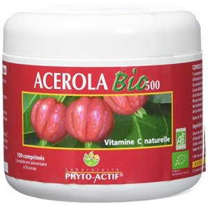 Phyto-Actif – Acérola Bio 500 – Pot Familial 100 cp