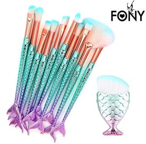 Ensemble de brosses de maquillage 11 Pièces Pinceaux Maquillage Brosse à maquillage en forme de sirène 3D Brosses à cosmétiques Ombre à paupières Eyeliner Blush Brushes