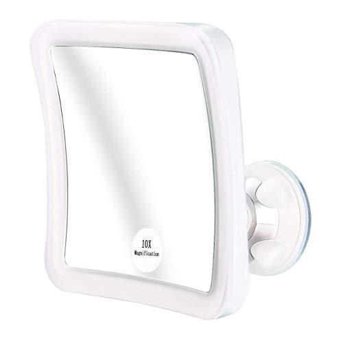 Miroir de Maquillage Miroir Grossissant x 10 LED Miroir Cosmétique avec Éclairage LED Pivot à 360° Ventouse Solide Miroir de Rasage de ELFINA
