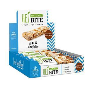 HEJ Natural Bite Noix de Coco Biologique – Barre aux noix Bio – Sans sucre ajouté – Barre énergétique – Produits 100% naturels – Barre végétalienne aux noix – Collation saine – Pack de 1 (8 x 40g)